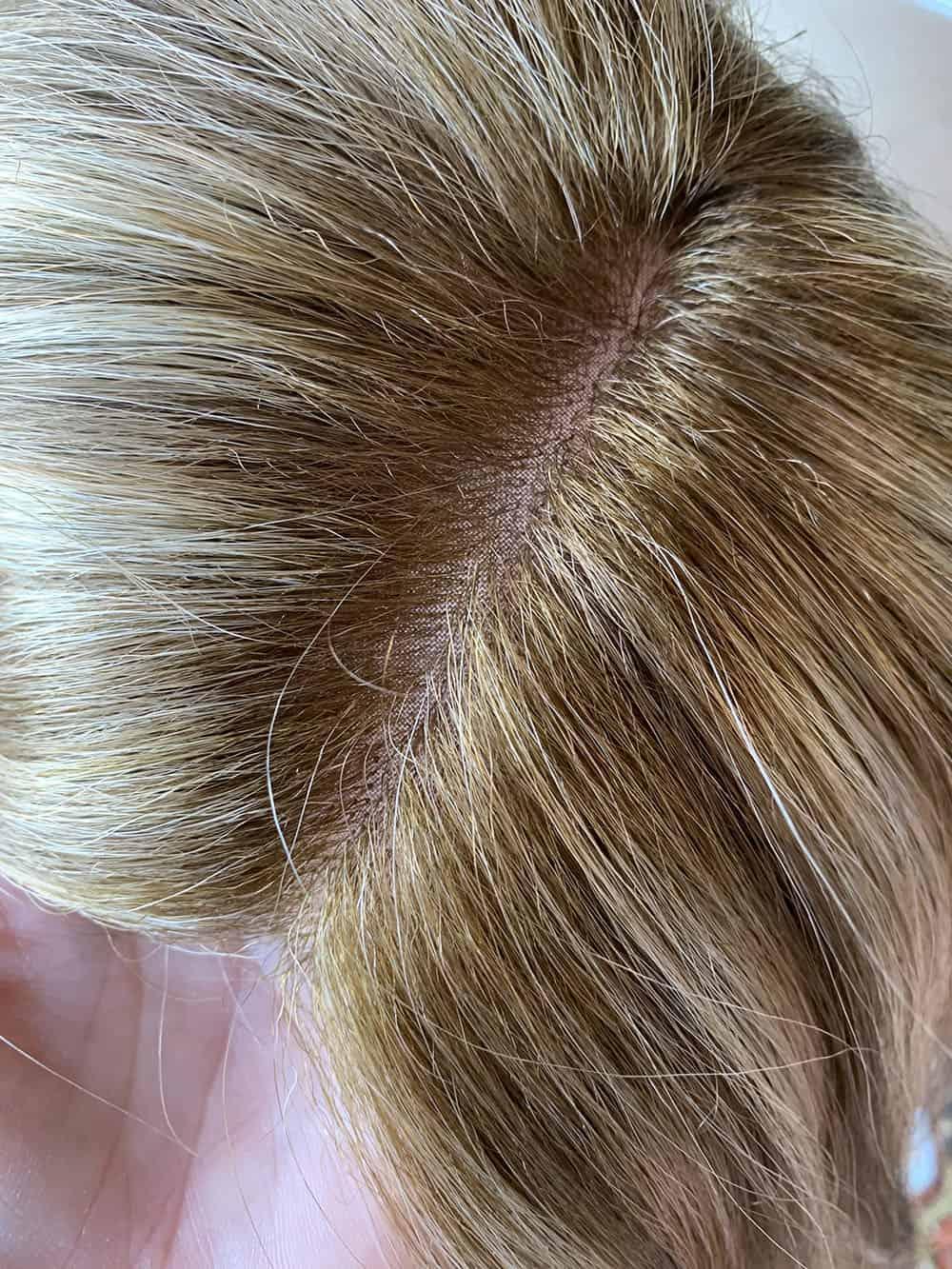 Jon Renau top wave monofilament base, hand tied hair piece, top of hairpiece