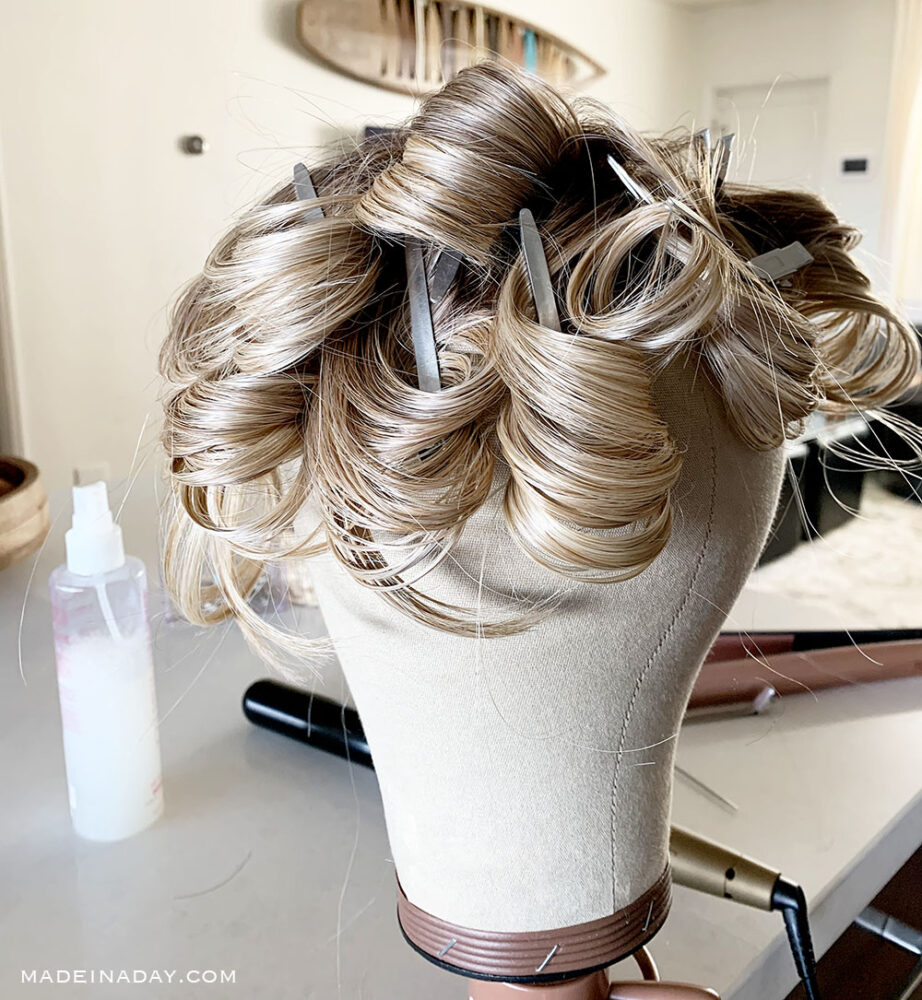 How to curl beach waves into a heat friendly wig, Curl a wig with a curling wand, pin curl waves in wig