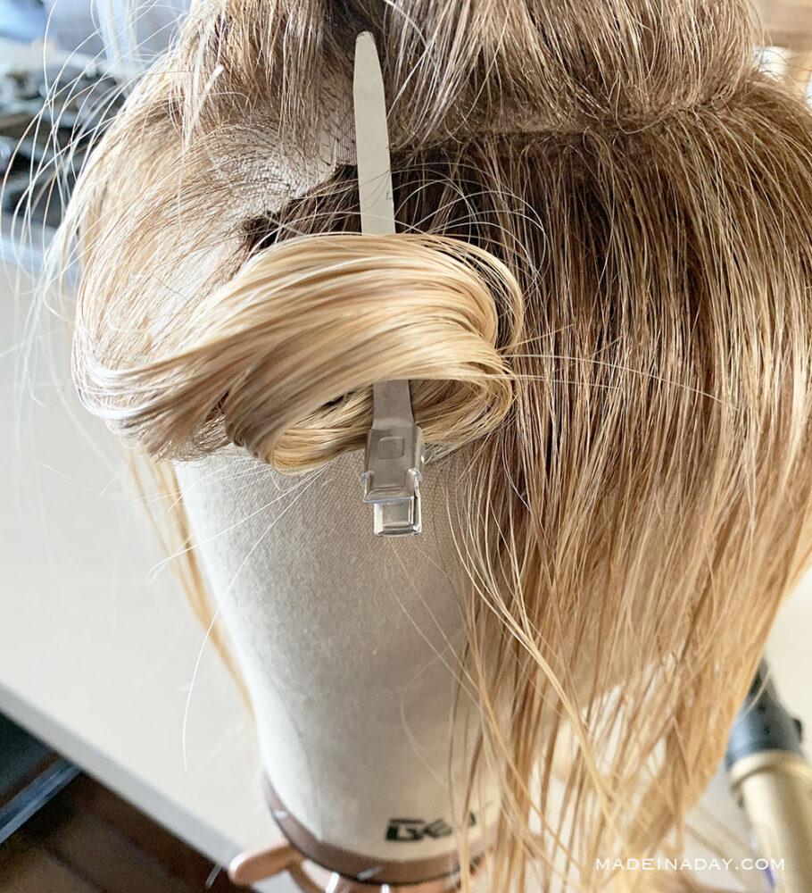 Make a pin curl on a wig, how to set curls in a wig, how t make curls stay in heat defiant wig