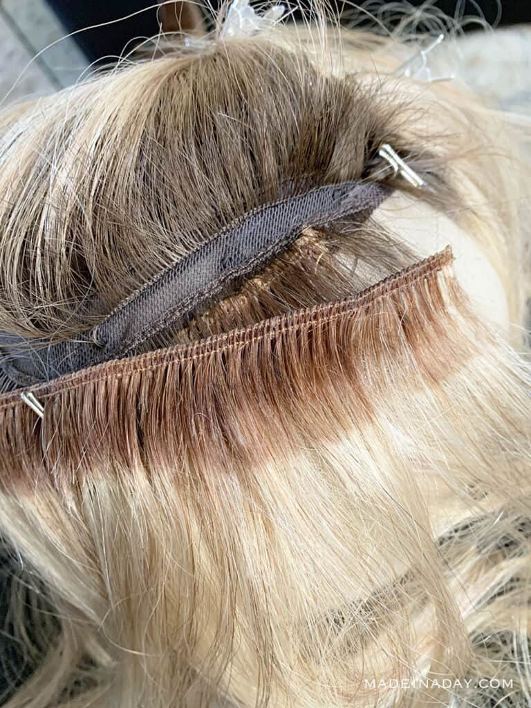 How to stitch wefts into a wig, How to stitch wefts into a topper, How to add length to a topper with wefts,