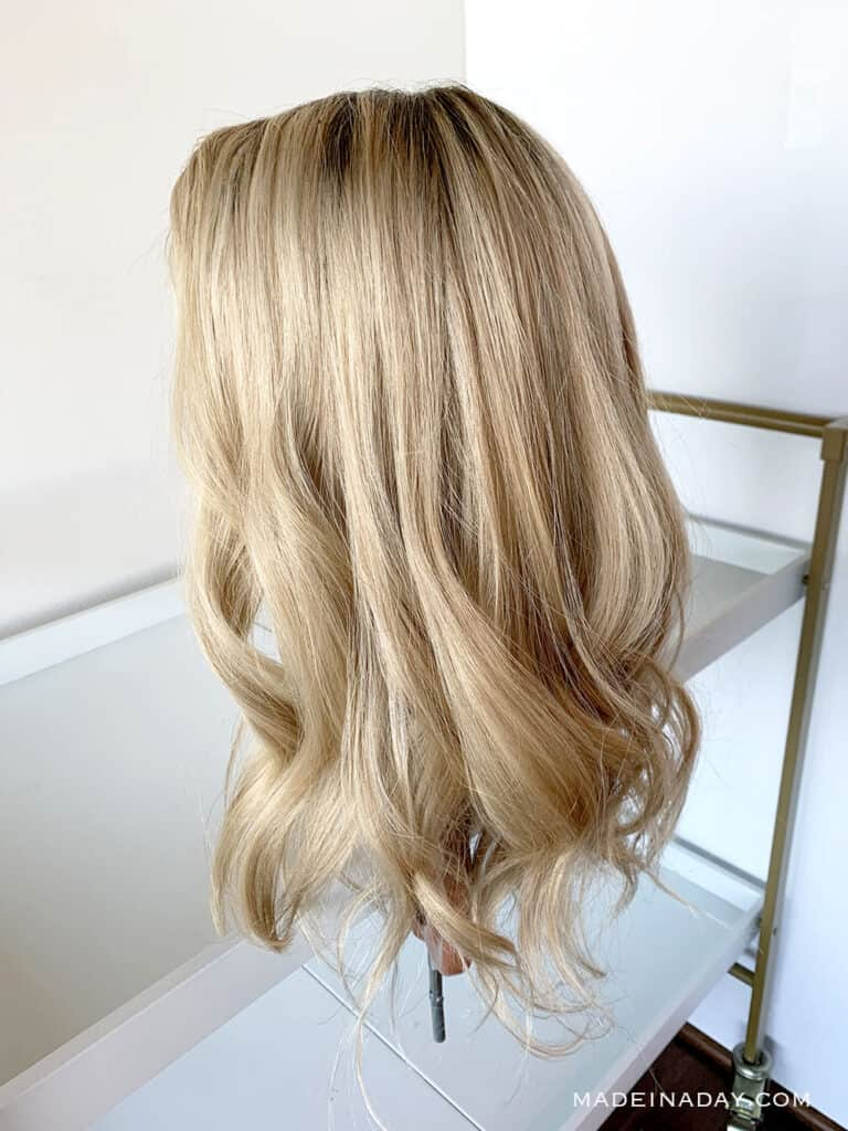 18 20 inch rooted light dimensional blonde topper, beach wave in topper, add highlights to topper, Color roots on a topper