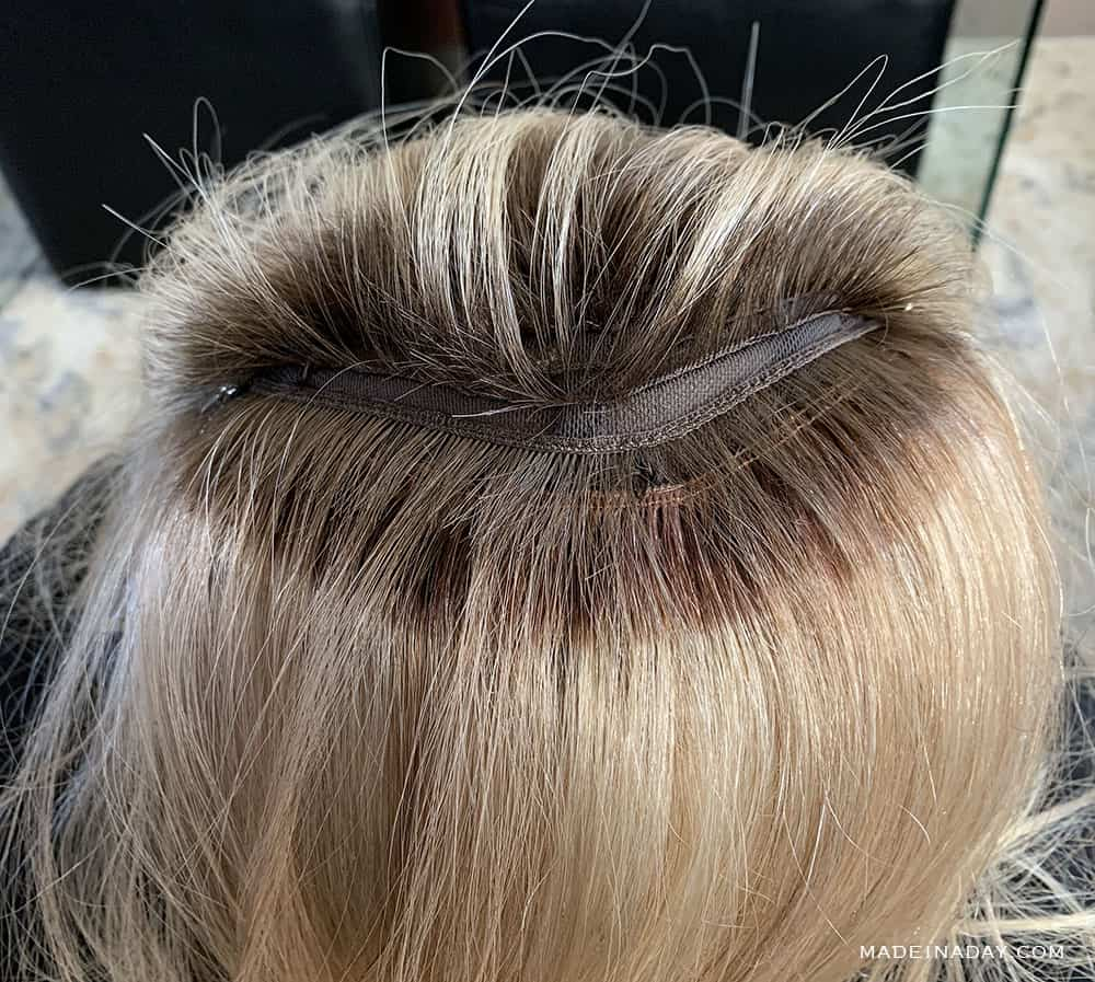 adding wefting to a wig, adding to a topper, how to weft a wig, custom made hair topper with wefts, DIY hair topper,