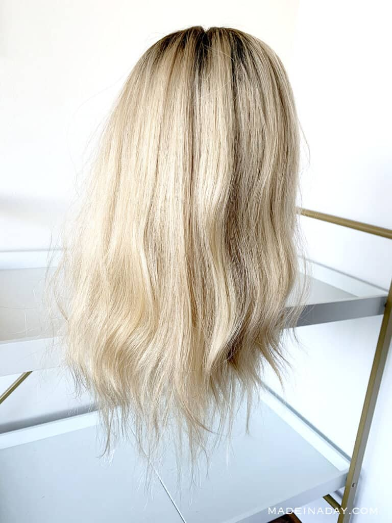 rooted light dimensional blonde Highline topper, add length to hair topper with wefts,