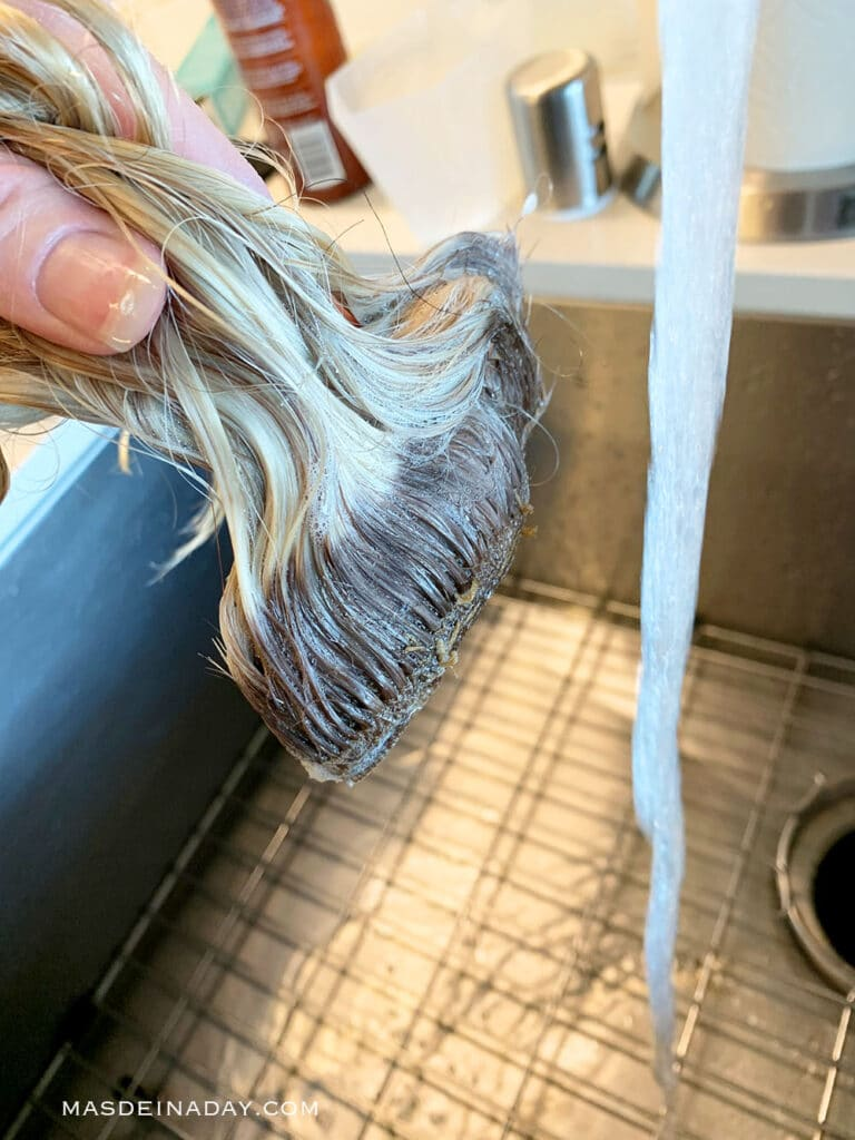 how to color roots on human hair wefts, wash wefts stitch side down, how to was wefts, how to color wefts for extensions