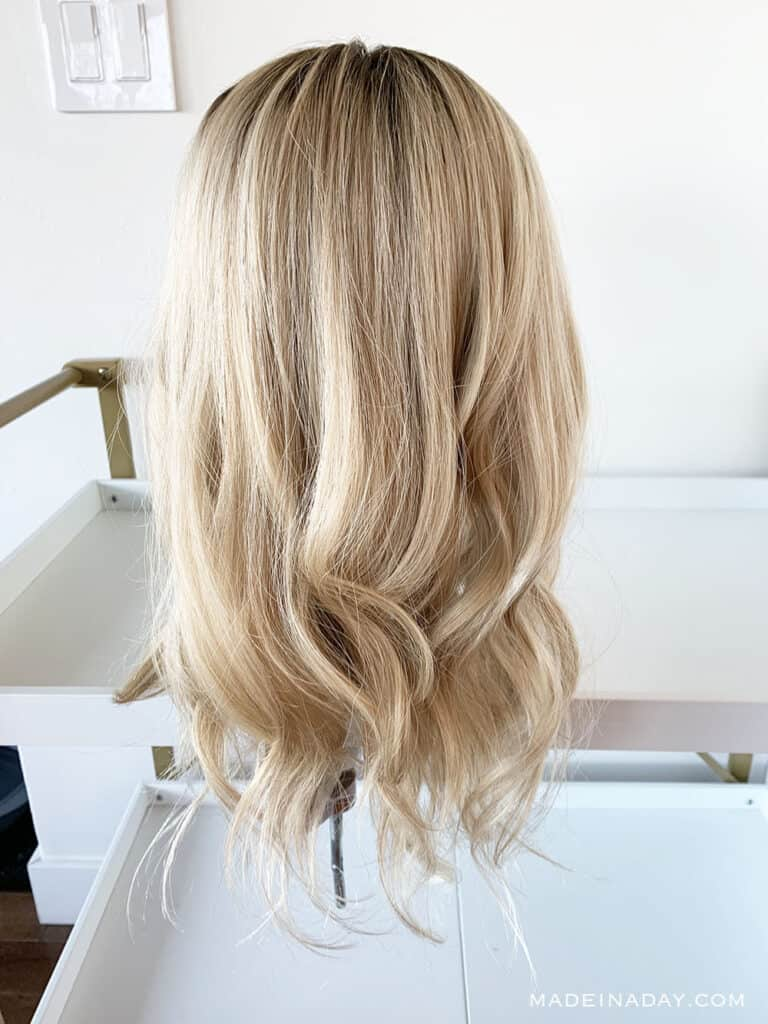 Highline Topper Human Hair Rooted light dimensional blonde, add roots to a wig, add length to a wig, adding wefts to a wig, customize a topper with wefts