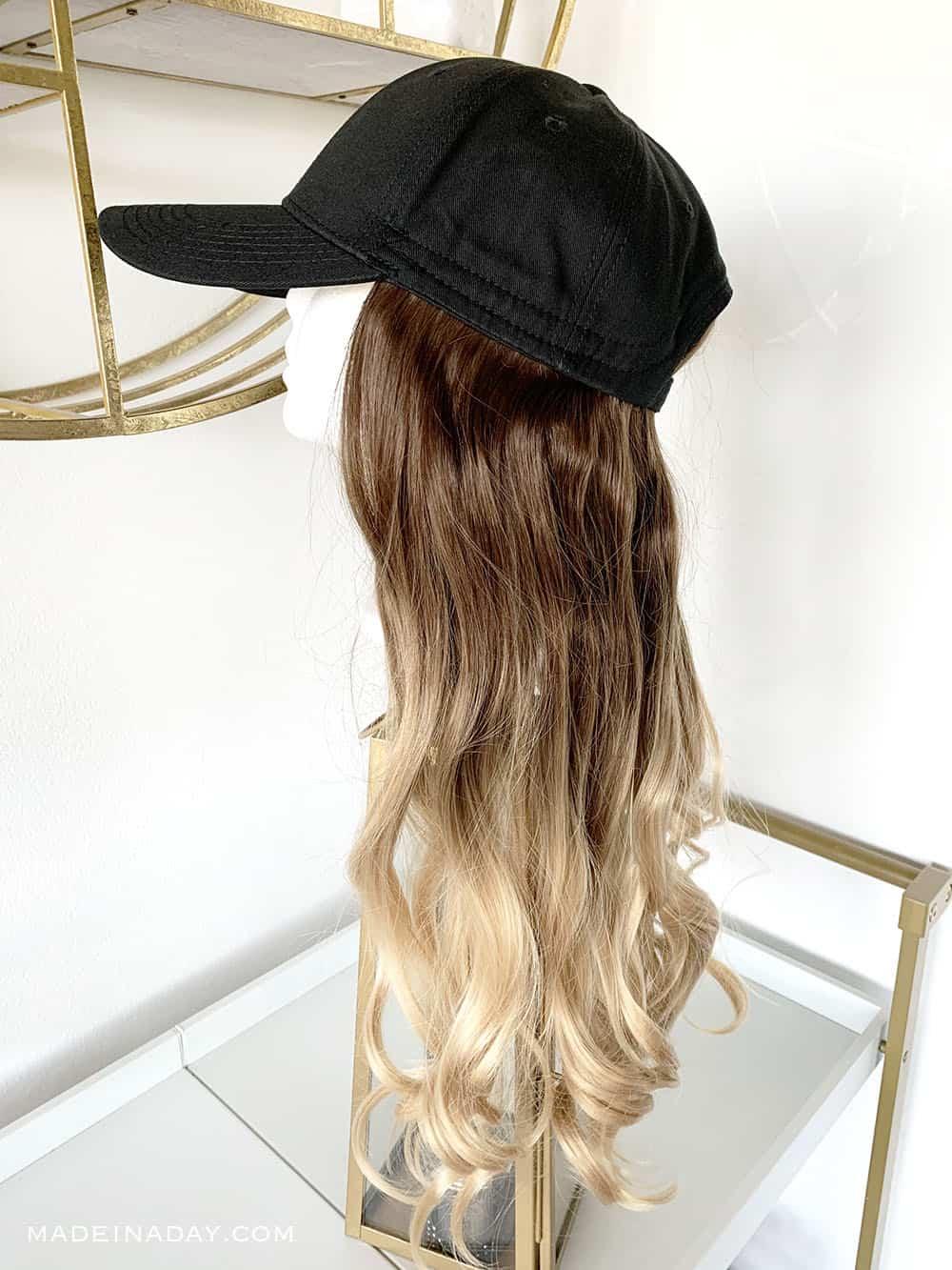 Baseball hat wig