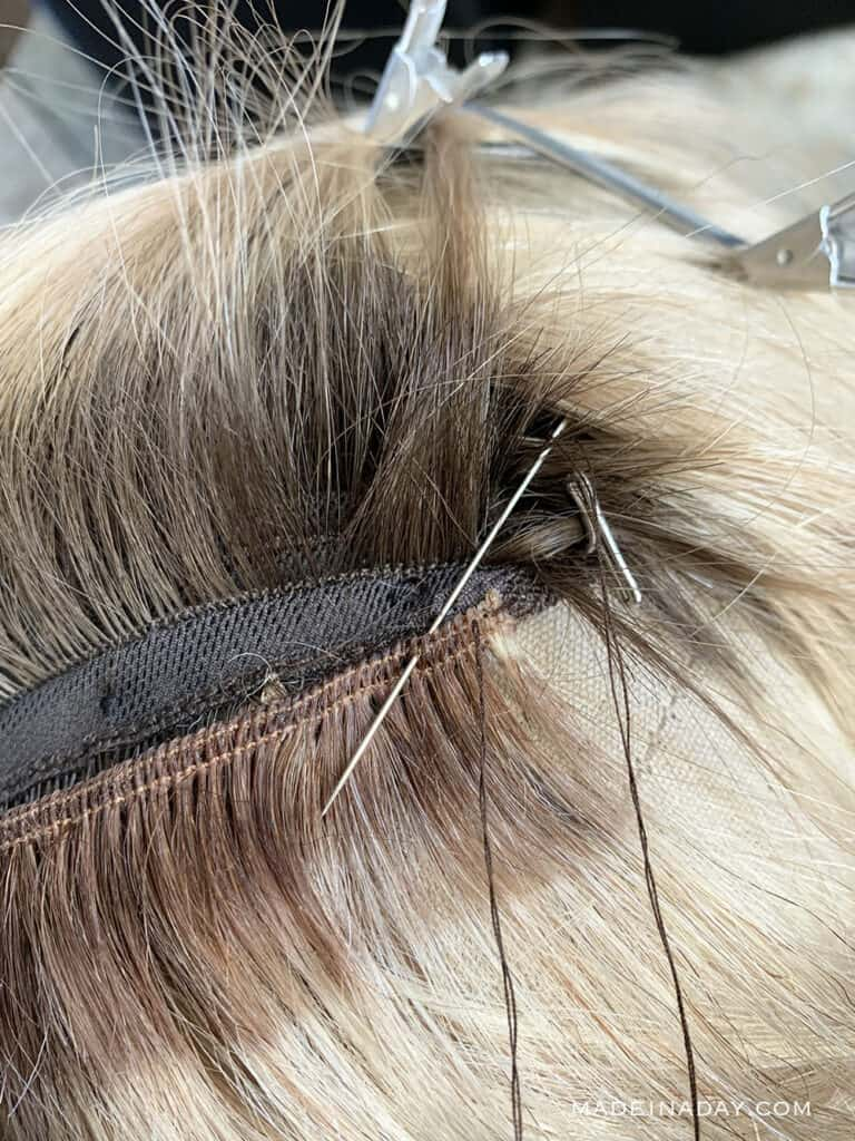 How to sew wefts into a wig, add highlights to a wig with wefts, add length to a wig with wefts, how to you sew hair wefts
