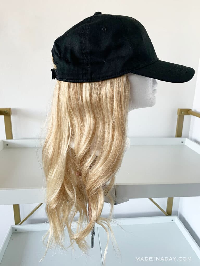 How to Make a DIY Wig Hat, add extensions to a hat, How to make a baseball hat wig, halos for hats
