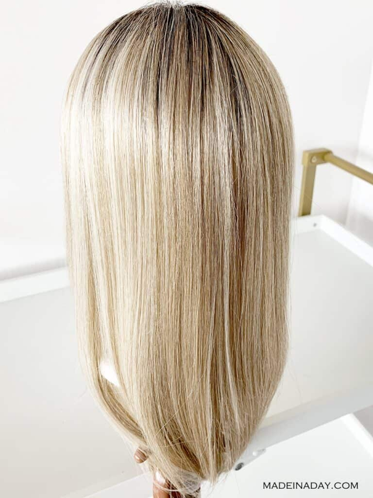 blonde hair topper, style forward shaded biscuit