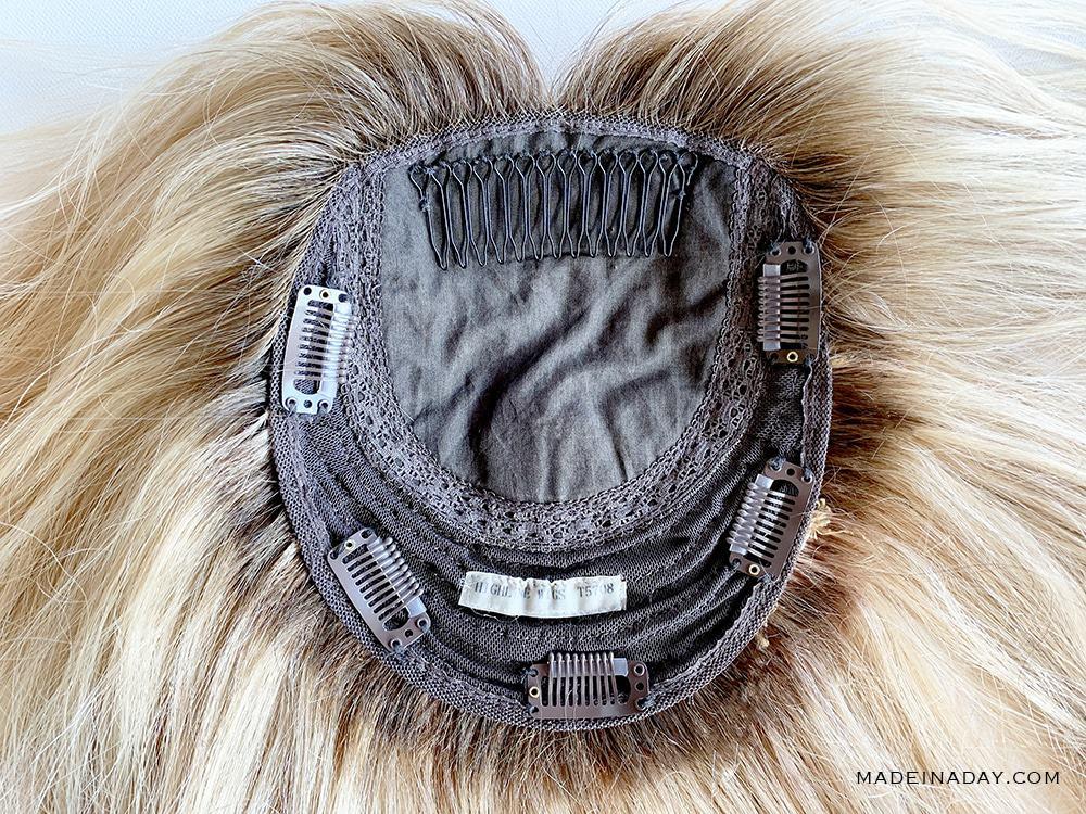 silk base hair topper, base view of hair topper, highline hair topper base